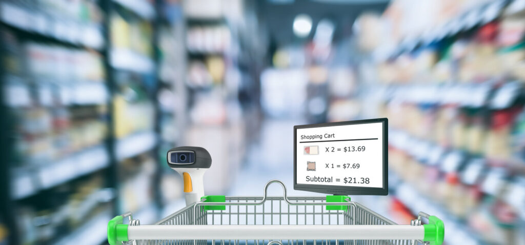 Futuristic technology trend in smart retail. Customer use smart cart to check data of product including price amount date discount promotion of product by using self scanner and show on cart monitor