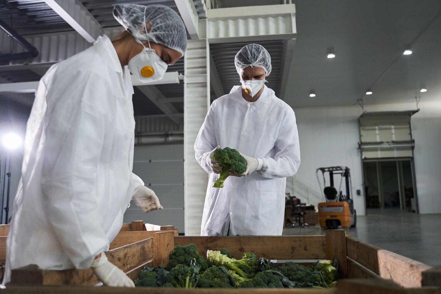 2 grocery warehouse employees in safety gowns and masks viewing a bin of brocolli