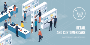 Customer buying products in a contemporary electronics store: retail, shopping and customer care concept